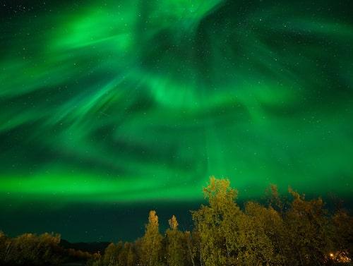 Norrsken i Abisko i Lappland.