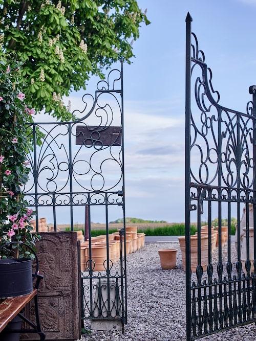 De antika järngrindarna är från sekelskiftet och kommer ursprungligen från Indien. Porten kallas för Fikonporten då fikon växer på södersidan.