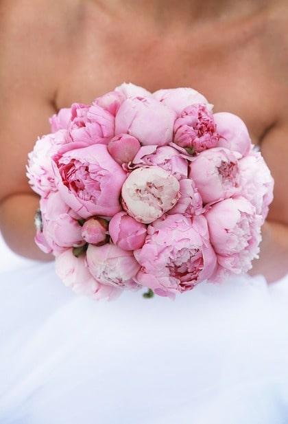 ÄLSKADE PION. Enkelt men väldigt vackert med en rund bukett med pioner. Knopparna är lika vackra som blommorna.