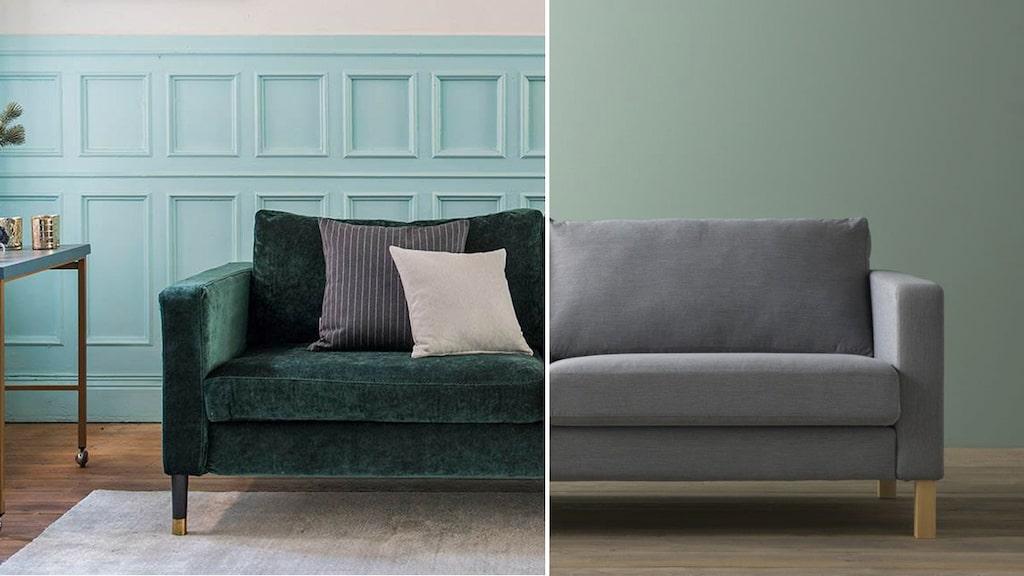 Fynda en Karlstad-soffa på Blocket och köp nytt överdrag = känns som ny!