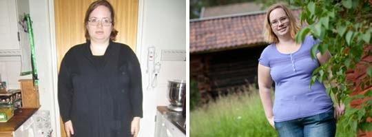 Till vänster: Ellinor Westh när hon gått upp i vikt och drabbats av fettlever. Till höger: Ellinor som hon ser ut i dag, 28,6 kilo lättare.