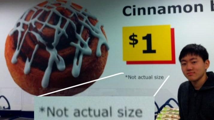 """Kanelbulle: """"Inte den faktiska storleken"""". USA, landet där man kan bli stämd för vad som helst."""