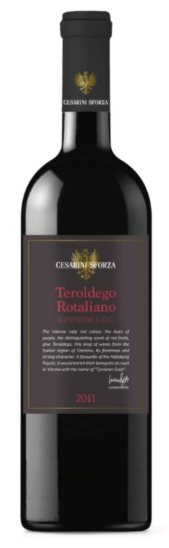RöttCesarini Sforza Teroldego Rotaliano 2012(2377) Trentino-Alto Adige, 81 krSmakrikt med inslag av saftiga plommon, björnbär, örter. Avrundad eftersmak. Utmärkt till en capricciosa.