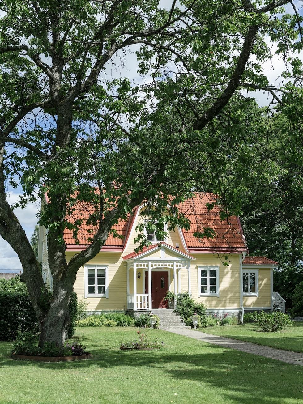 Det fina 20-talshuset är inbäddat i grönskan. Det finns många gamla fruktträd på tomten som äpple, körsbär och päron.