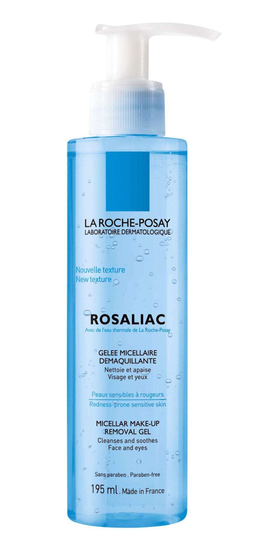 Rosaliac rengöringsgel, 165 kronor/195 ml, La Roche-PosaySpecialistvårdSkön gelaktig konsistens med ingredienser som passar en känslig hy som lätt rodnar. Huden blir ren utan att strama, men det krävs extrainsatser för att ta bort ögonmakeup.Larocheposay.se