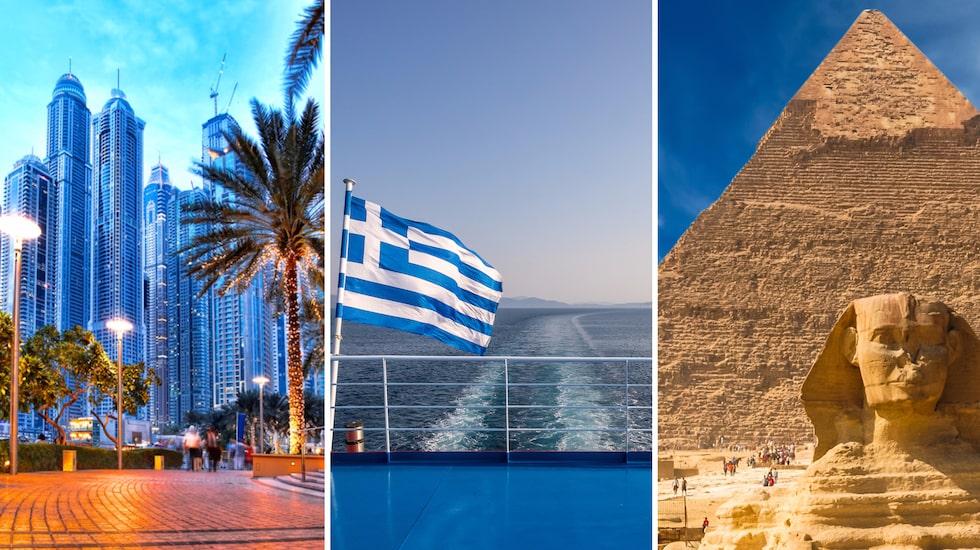 Den 17 augusti gick grekiska myndigheter ut med att negativa PCR-test krävs för alla svenska resenärer innan ankomst. Bland annat Dubai och Egypten förväntas införa samma krav till hösten.