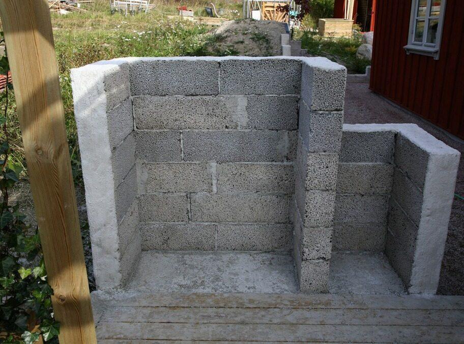 1. Grunda & mura. Tänk igenom var grillen ska stå. Hur blåser vinden oftast? Närheten till ditt kök? Gräv sedan bort grässvålen och ytterligare 30 centimeter ned. Fyll hålet med 20 centimeter sättgrus. Gjut en betongsockel som murstenarna kan vila på. För att undvika tjälskador gjuts armeringsjärn in i sockeln. När grunden har brunnit ordentligt (cirka 2 dygn) kan murarbetet starta. Lecablocken ska ligga omlott så att skarvarna inte kommer rakt över varandra. Blocken kapas med en yxa eller en grovtandad såg. Blanda murbruk enligt instruktion och mura lager på lager tills du når önskad höjd. Utgå från de mått på grillen som finns på marknaden.