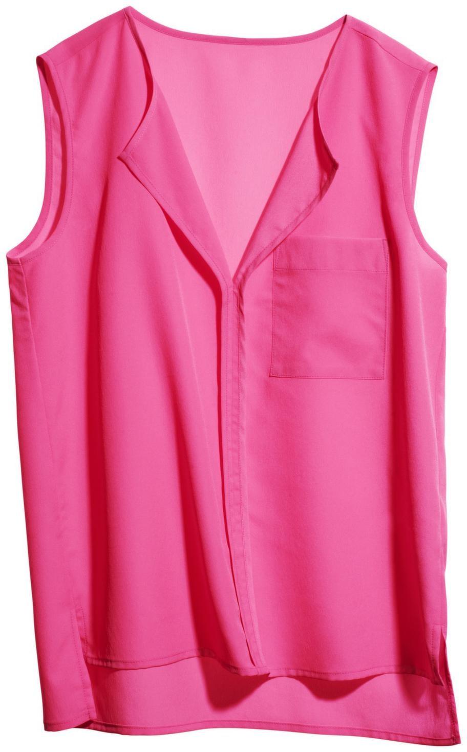 Den här ärmlösa blusen från H&M blir en fin färgklick under kavajen. Den blir din för 149 kronor.