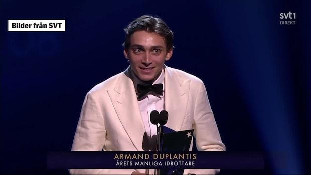 Här tackar Duplantis för priset - på svenska