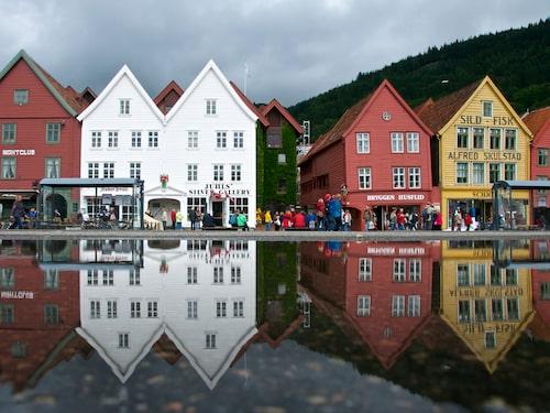 Pittoreska stadsdelen Bryggen finns med på UNESCO:s världsarvslista sedan 1979.