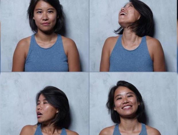 Bilderna visar kvinnors ansikten - innan, under och efter orgasm