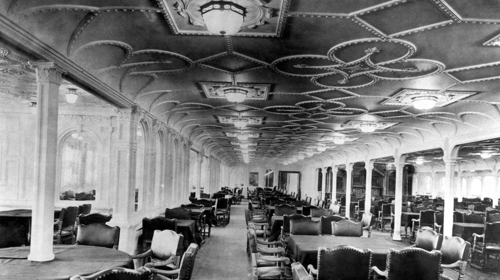 Så här såg det ut inne i fartyget 1912.