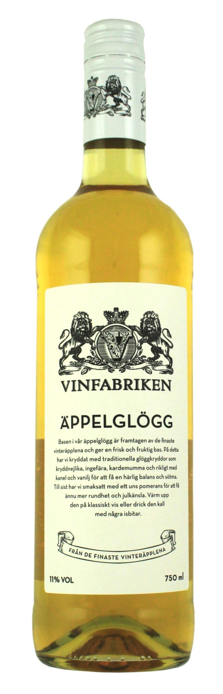 """Vinfabrikens Äppelglögg (96037) 11%, 75 kr<br>Äpplen och glöggkryddor är en trivsam kombination. Här en vit glögg med behaglig sötma och liten fräschör.<br><exp:icon type=""""wasp""""></exp:icon><exp:icon type=""""wasp""""></exp:icon><exp:icon type=""""wasp""""></exp:icon><exp:icon type=""""wasp""""></exp:icon>"""