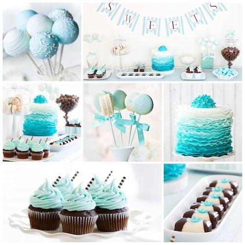 Det brukar förekomma många söta bakverk på en babyshower, cupcakes och tårta är typiska bakverk.