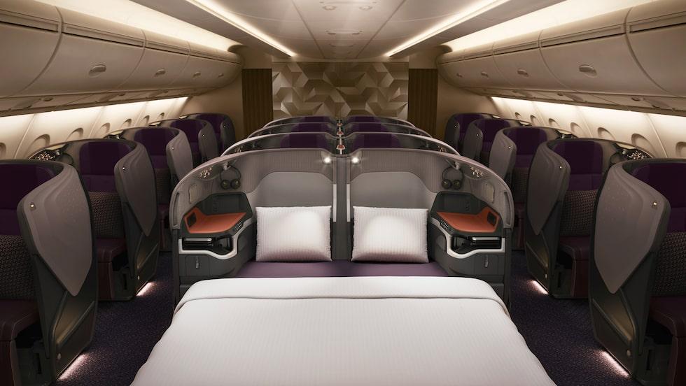 Även businessclasskabinen på Singapore Airlines får möjlighet till dubbelsängar.