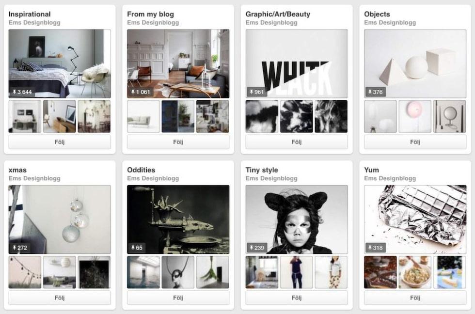 Det finns många inredare du kan följa på Pinterest. Här är några av dem.