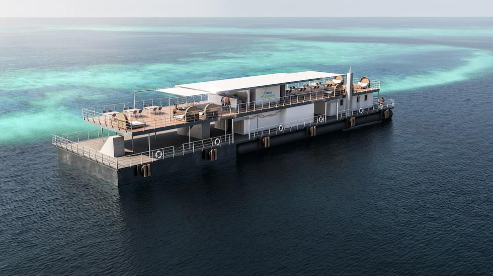 Sviterna ryms i nedre botten av en ponton vid Stora Barriärrevet.