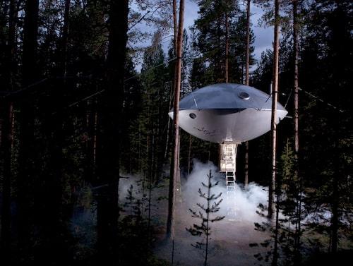 Nej, det är inte ett rymdskepp som har landat – det är Ufo på Treehotel.