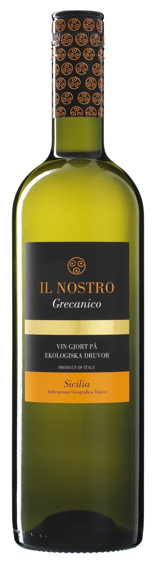 """VittIl Nostro Grecanico 2013(22803) Sicilien, 59 krHär finns stråk av gula frukter och en pigg citruston. Ekologiskt.Passa bra till en """"tonno"""", pizza med tonfisk, oliver och gul lök."""
