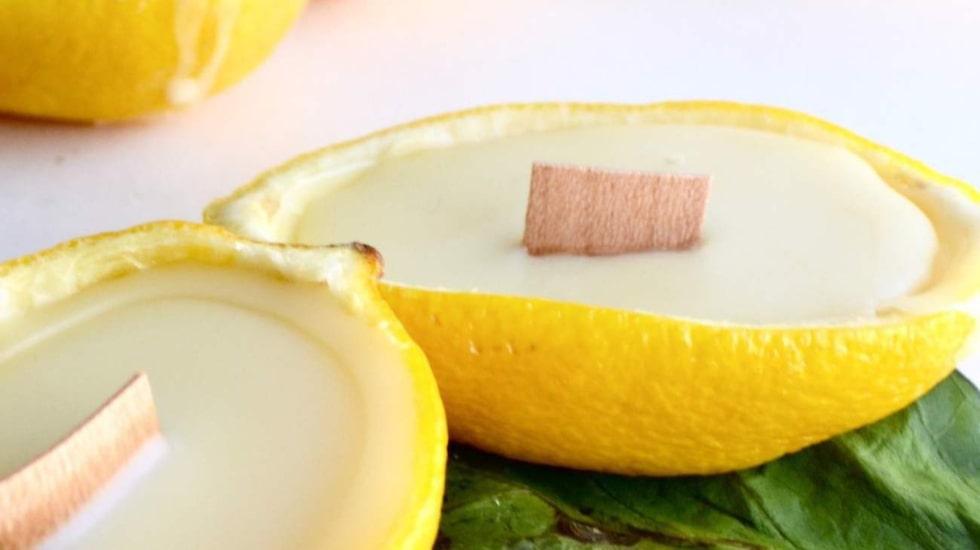 Ljus av citron och bivax blir både vackert och väldoftande. Perfekt att ha utomhus!
