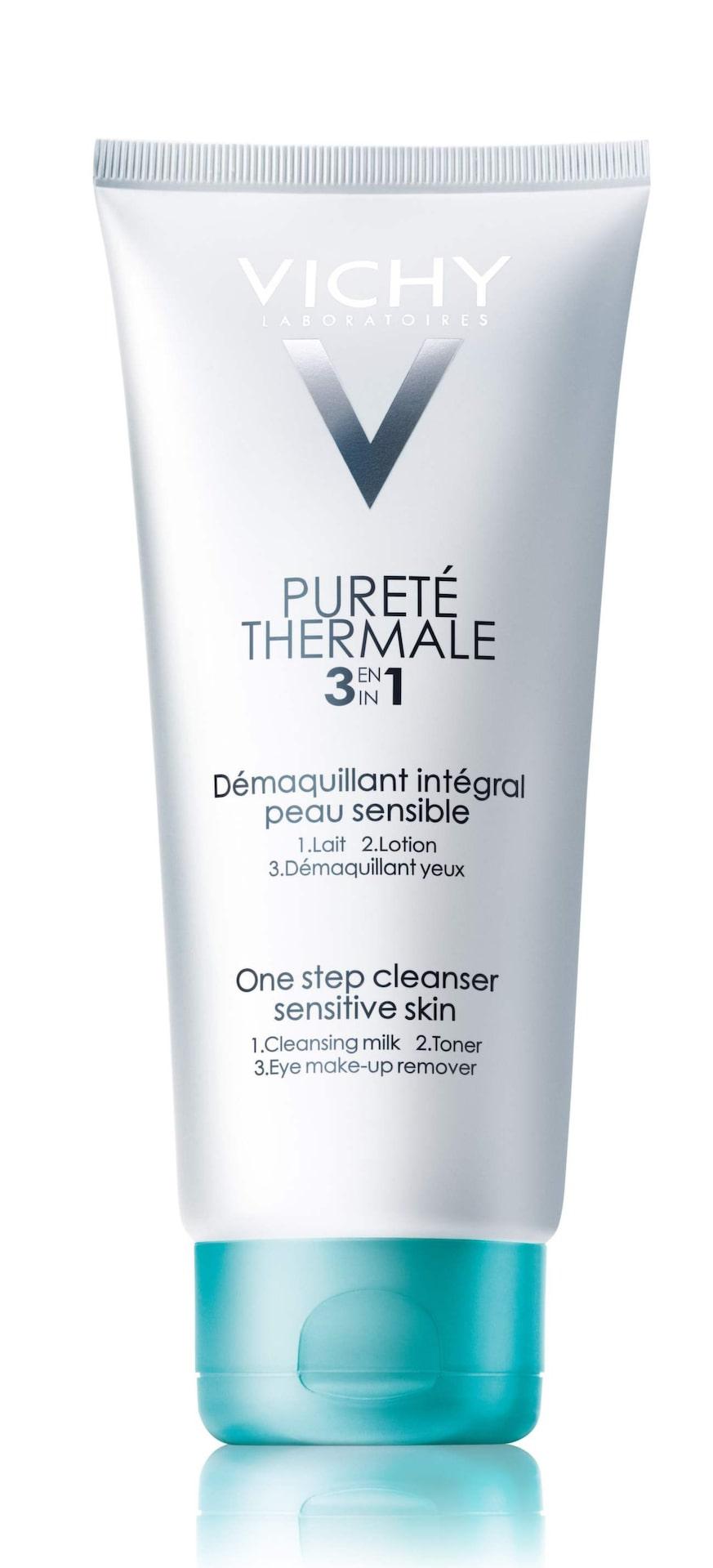 Pureté thermal 3-i-1,129 kronor/200 ml, VichyStorsäljareMjuk gelémjölkig konsistens som ger en fräsch känsla på huden. Renast blir huden om rengöringen appliceras på bomullsrondeller. Funkar sämre på vattenfast mascara.Vichy.se
