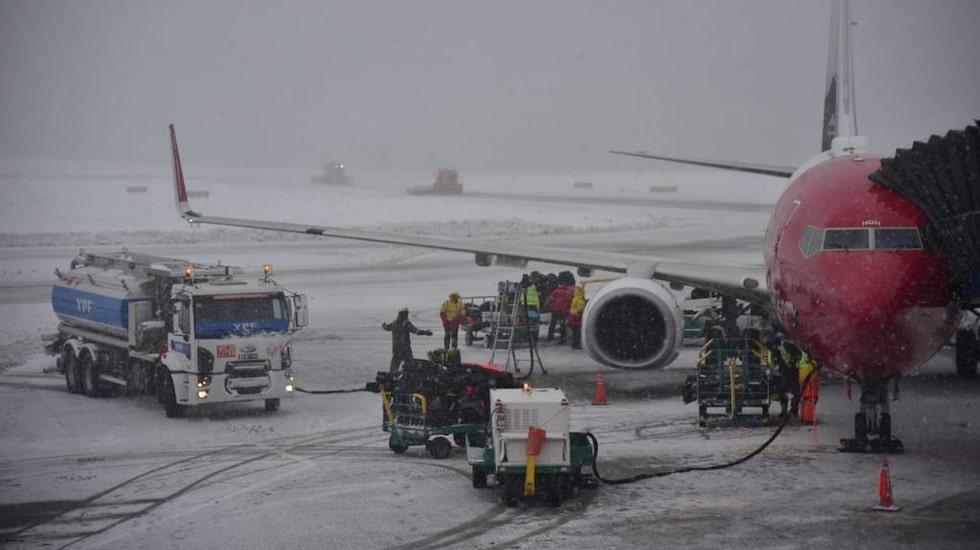 En Boeing 737-800 efter ankomsten till Ushaia på Argentinas sydspets.