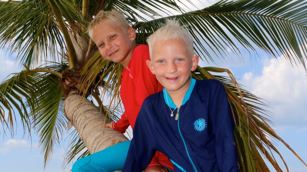 Barnen Jack och Milo får sköta skolarbetet på resande fot under den nio månader långa resan.