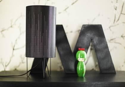 Starka ben. Bordslampa med tygskärm och stålben, höjd 38 cm, 275 kronor, Åhléns. Geisha, 345 kronor, Nordiska Galleriet. Bokstav i papp, 225 kronor, Room.
