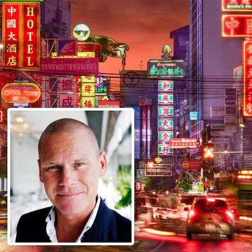 Mons Kallentoft känner sig hemma i Bangkok.