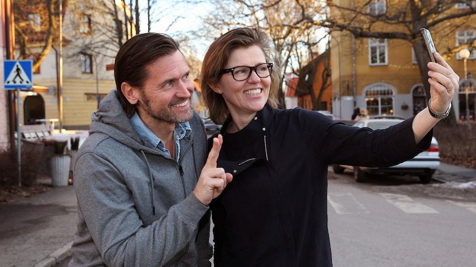 Martin med reportern Christina Lundell.