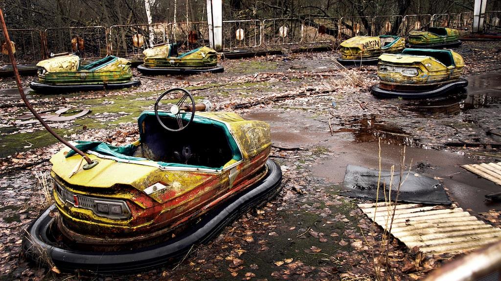 Radiobilarna i Pripyat har stått övergivna sedan kärnkraftsolyckan i Tjernobyl 1986.