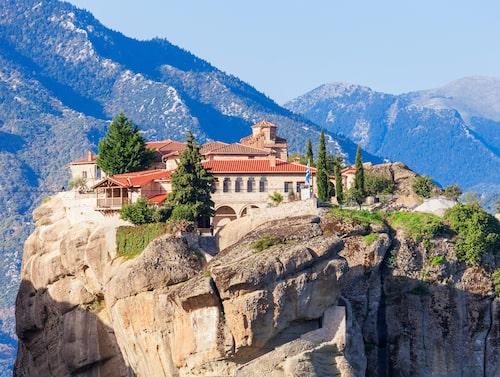 1400-talsklostret Agia Triada i världsarvet Meteora i Grekland.