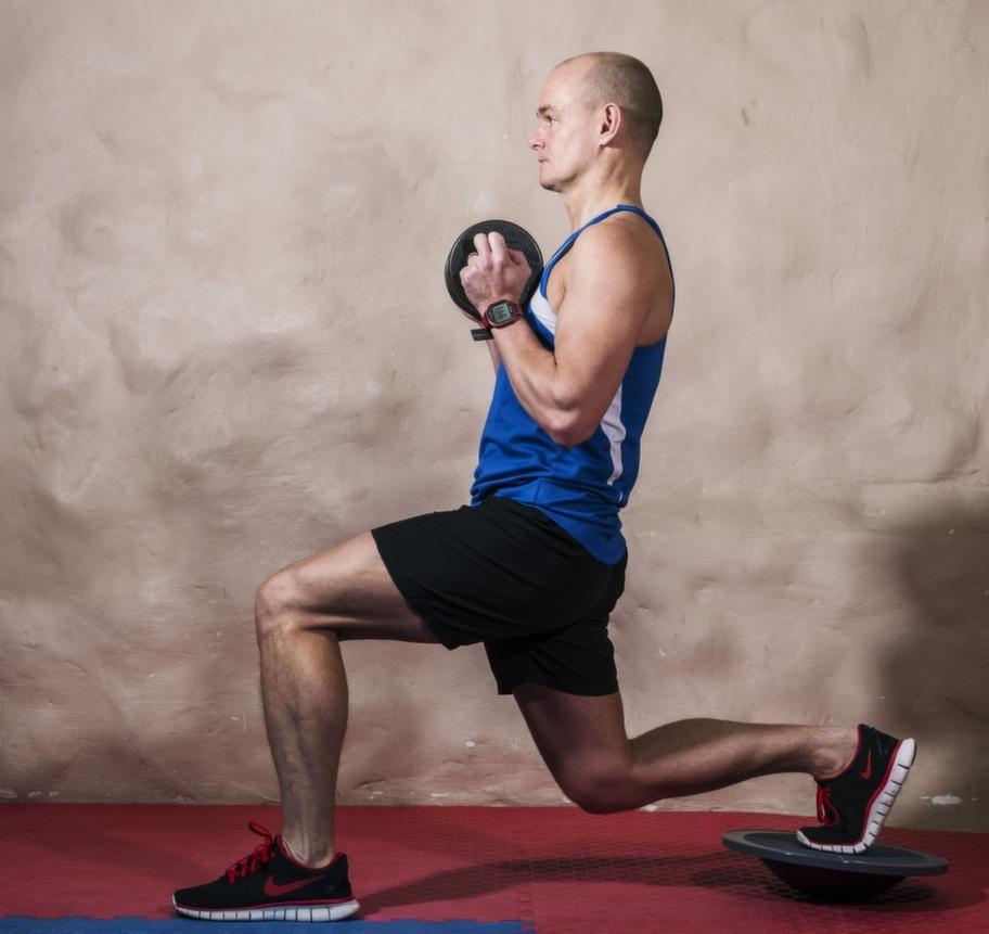 Fortsättning utfall med bålrotation på balansplatta