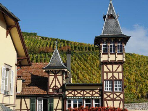 I gränslandet mellan franskt och tyskt frodas gemytet i de gulliga byarna bland vinkullarna.