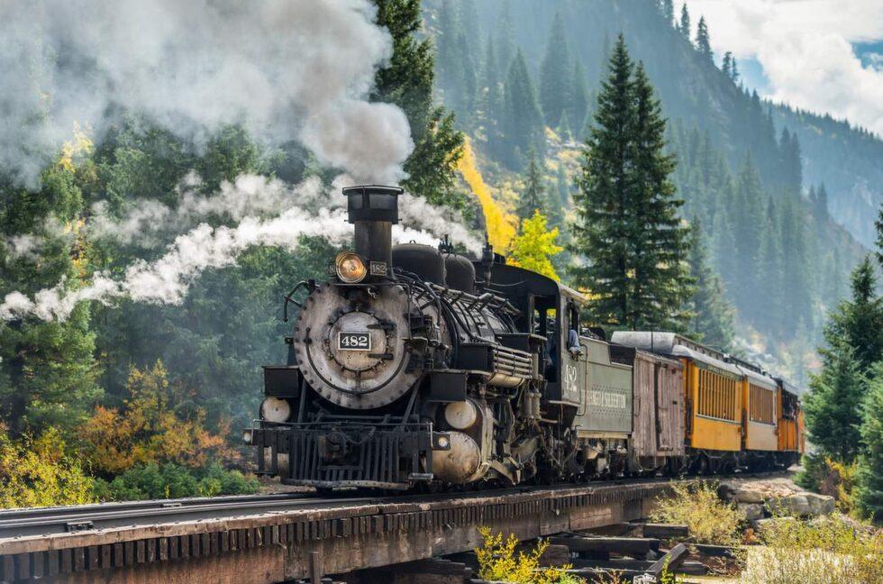 Durango & Silvertons smalspåriga järnväg går genom Colorado.