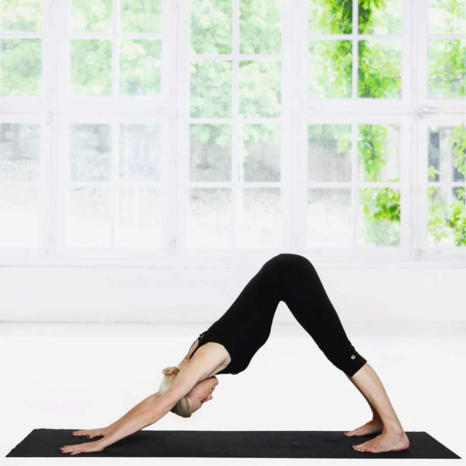 4 HundenSätt ner händerna i mattan under axlarna och kliv sakta bakåt med fötterna till Hunden. Det är viktigare att kraften kommer från händerna och att du sträcker ut ryggraden än att komma ner med hälarna i mattan. Minska på trycket i axlarna genom att böja lätt på benen. För isär skulderbladen. Andas.