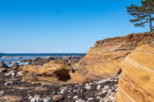 Sandstensklippor i naturreservatet Kulla Gunnarstorp.