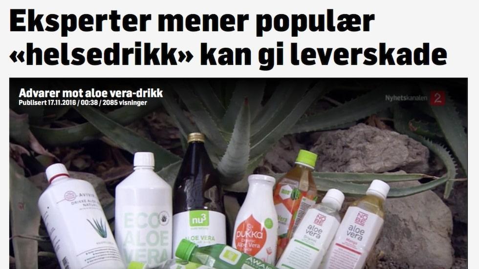 Enligt en undersökning på uppdrag av norska TV2.no är de populära aloe vera-dryckerna helt onödiga och i värsta fall farliga.Faksimil från norska TV2.