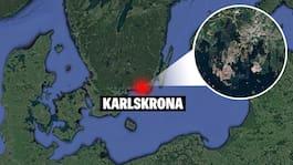 Lastbil och personbil i krock i Karlskrona