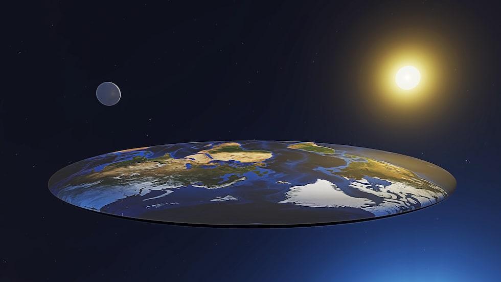 Plattjordare hävdar att jorden är en platta, och att solen och månen kretsar kring jorden och inte tvärtom.