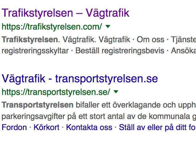Det är inte heller lätt att skilja trafikstyrelsen.com från Transportstyrelsen på Google.