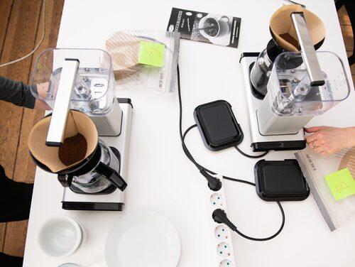 Kaffefiltren testbryggdes med samma mängd kaffepulver och vatten i samma sorts bryggare.