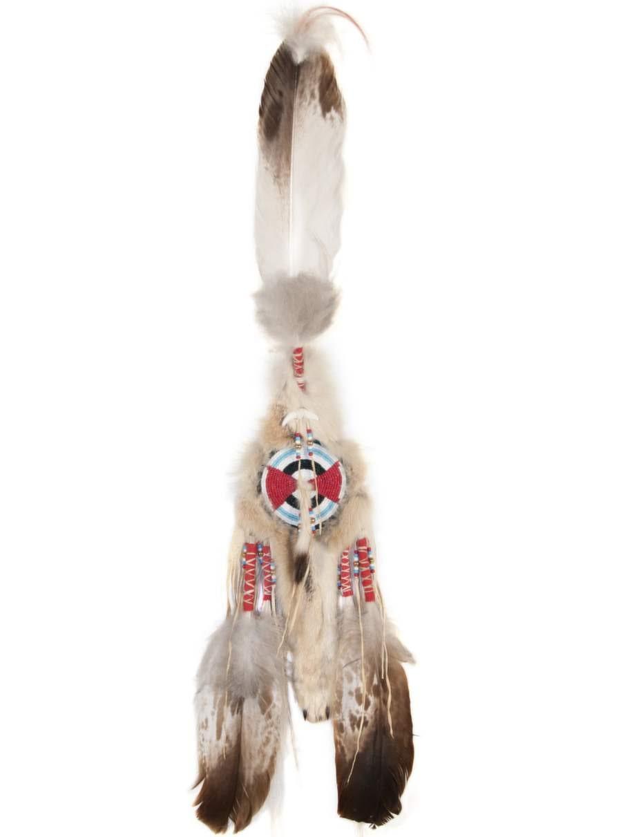 Denna indianska drömfångare är gjord av skinn från prärievarg och fjäder från kungsörn. Båda arterna är förbjudna att ta in i Sverige.
