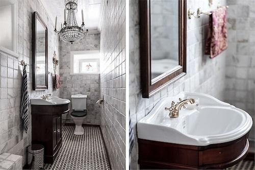 Flott i badrummet med kristallkrona.