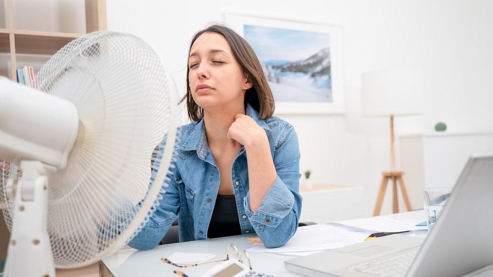 """Sitter du hemma och jobbar och håller på att smälta bort av värmen? Köp en fläkt ock känn """"vindbrisen"""" göra skillnad."""