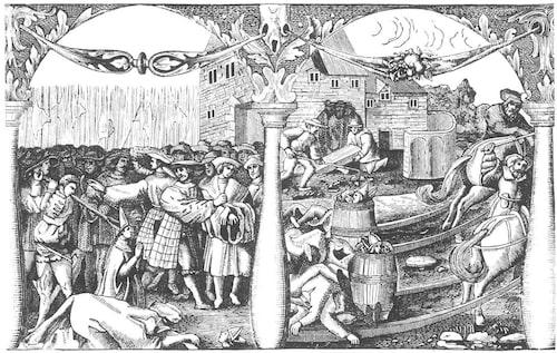 """Ett utsnitt ur """"Blodsplanschen"""" som Gustav Vasa lät utföra kort efter Stockholms blodbad. Till vänster ses bödeln höja bilan för att halshugga biskopen i Skara. Bilden till höger föreställer hur man gräver upp Sten Sture d.y.:s lik som man tillsammans med de halshuggnas kroppar brände på kättarbål."""