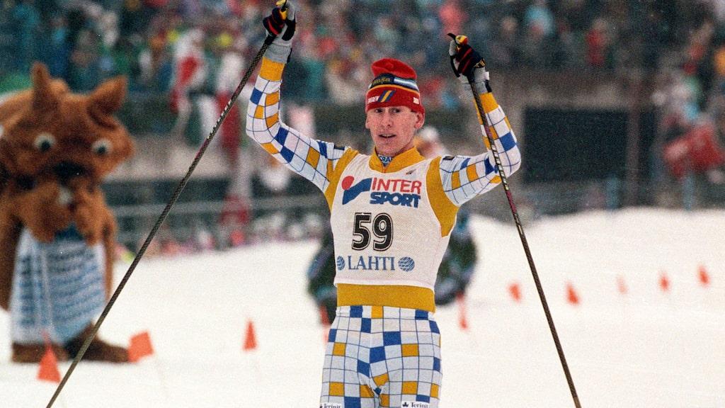 Gunde Svan under VM i Lahtis 1989.