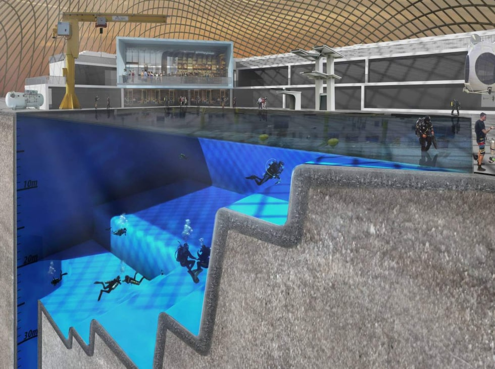 Poolen ska kunna simulera såväl yttre rymden som att skapa djuphavskänsla. Foto: www.facebook.com/BlueAbyssPool