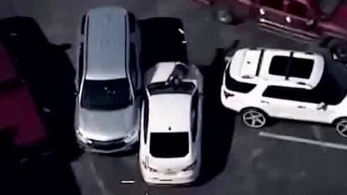 Varning för starka bilder: Här kör kvinnan på polisen