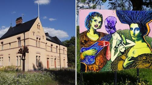 Uttersbergs gamla stationshus är numera galleri, med skulpturparken vid perrongen.